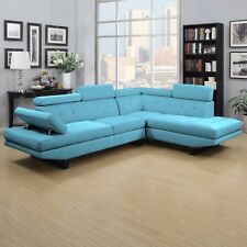 Sectional Sofa Couch Tufted Upholstered Fabric Stationary Loveseat Chaise Lounge