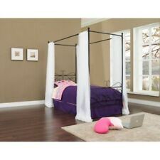 Canopy Princess Bed Wrought Iron Pink White Black Kids Girls Frame Furniture New