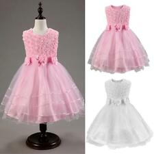 Rose Flower Girls Tulle Princess Dress Party Wedding Pageant Bridesmaid Dresses