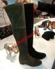 Womens Suede Slouch Over Knee High Thigh Boots Low Heel Tall Long Boots US 4-11
