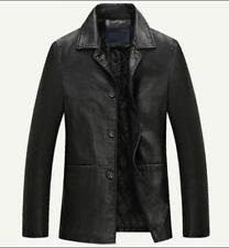 Winter Chic Mens coat trench outwear warm Casual leather jacket overcoat Parka