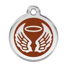 Angel Wings Brown Pet Dog Cat ID Tag Personalised Engraved Steel Tags Dingo