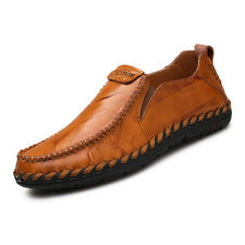 Men's Driving Flats Shoes Casual Cowhide Moccasins Slip On Loafers Shoes Size 10