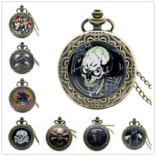 Christmas Skull Vintage Bronze Men Women Quartz Pocket Watch Necklace Chain Gift