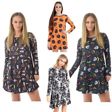 Womens Ladies Halloween Skull Spider Pumpkin Swing Skater Flared Party Dress Top