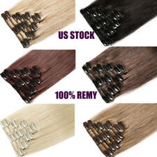 Natural Remy Clip in Hair Extensions Full Head 100% Real Human Hair Highlight US