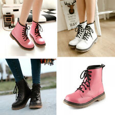 Womens Ladies Lace Up Mid Calf Round Shoes Flat Combat Ankle Martin Boots Size