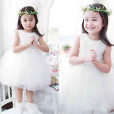 Cute Baby Girls Kid Toddler Sleeveless Tulle Bubble Party Evening Wedding Dress