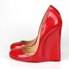 """WOMEN SHOES PATENT RED FETISH PUMPS EXTREME HIGH WEDGE HEEL 5.5"""""""