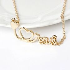 """ECG Heart """"I love Jesus"""" Letter Gold or Silver Plated Cross Pendant Necklace"""