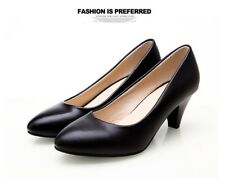 YALNN Women's Leather Med Heels New High Quality Shoes Classic Black&White Pumps