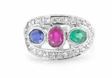 Sterling Silver Ring with Emerald Ruby Blue Sapphire Gemstones Handmade eBay