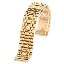 20/22mm Black/Gold Stainless Steel Wrist Watch Band Replacement Men Women Strap