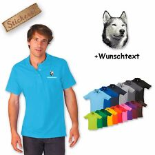 Polo Shirt Shirt Cotton Embroidered Embroidery Husky + Text of your choice