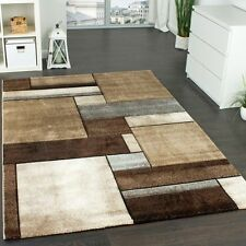 Small Large Rug Modern Carpet Geometric Checked Design Rugs Brown Beige Mats NEW