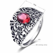 Ring Ruby 925 Solid Sterling Silver Victorian Style Handmade Red Gemstone Rings