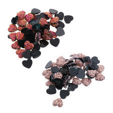 50pcs Heart Flat Back Resin Rhinestones Wedding Craft Glitter Cabochon Gems 12mm