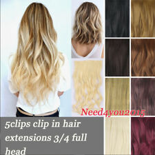 Top Quality Clip In Hair Extensions On Hairpiece 5Clips as Human Long Curly Wavy