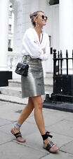 Zara Genuine Leather Metallic Pewter Silver Button Skirt XS S M L BNWT Bloggers