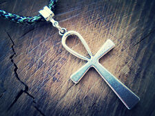 Silver Tone Ankh Cross Pendant Braided Camo Cord USA Quality Adjustable Necklace