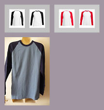MENS FRUIT OF THE LOOM LONG SLEEVE BASEBALL T SHIRT ALL SIZES COLOURS BNWOT