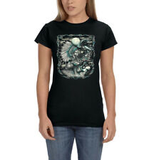 Native American Indian Chief Wolf And Eagle Moon Spirit Womens T-Shirt Tee