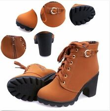 Fashion Ladies Zipper Buckle Platform Lace Up Shoes Womens High Heel Ankle Boots