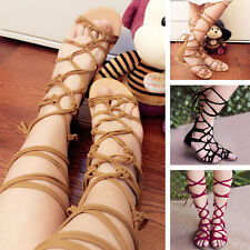 NEW Women's Gladiator Knee High Leg Wrap Lace Up Flat Sandals Boots Shoes