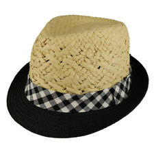 Kid's Two Tone Lightweight Summer Fedora Hat with Checkered Hat Band