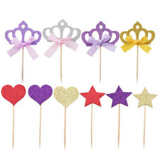 4/10pcs Birthday Cupcake Toppers Baby Shower Party Wedding Cake Picks Decor