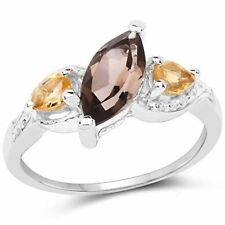 Genuine Marquise Smoky Quartz and Citrine Ring in Sterling Silver