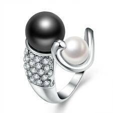 18K Gold Plated GP White Black Double Pearl Swarovski Crystal Wedding Women Ring