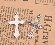 Wholesale 10Pcs Tibetan Silver Cross Charms Pendants Jewelry 31x19MM CA43