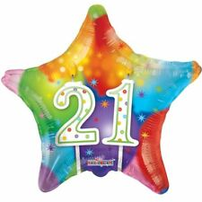 New 21st Balloon Happy Candles Birthday Star MultiColor Decor Balloons 18 Inch