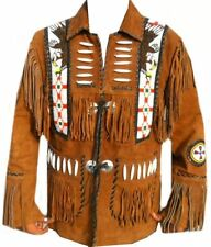 CFD Mens hot brown Cowboy Western Real 100% Suede Leather Jacket Fringes-3