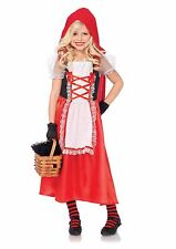 Kids Girl Little Red Riding Hood Red Dress With Hooded Cape Halloween Costume