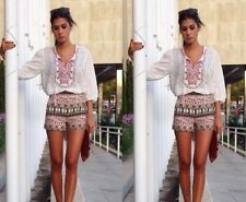 ZARA KHAKI HIGH WAIST ETHNIC PRINTED SHORTS REF.3057/241 SIZE XS BLOGGERS FAV.