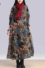 VINTAGE FLORAL PRINT LONG MAXI DRESS CASUAL LOOSE LONG SLEEVE O NECK OVERSIZED B