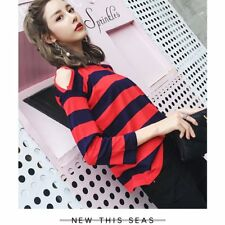 chic black Red stripes wild loose long sleeve T-shirt South Korea women NEW EW