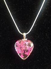 """17"""" 925 Sterling Silver Dried Flower Heart Murano Glass Lampwork Necklace *OFFER"""