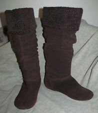 Funky Knee-High DARK BROWN Suede flat slip on boots fleece detail SAM AND LIBBY
