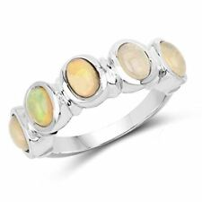 Genuine Oval Opal Ring in Sterling Silver