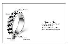 Mens Rings Womens Black Clear CZ Wedding Band Ring Stainless Steel Jewelry