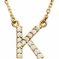 """14K Gold Diamond K Initial Letter Charm Pendant with 18"""" Rolo Chain Necklace"""