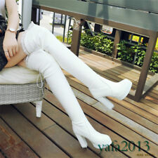 Fashion Womens Thigh High Heel Platform Boots Winter Warm Over Knee Long Boots