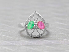 925 Sterling Silver Pear Shape Ring with Red Ruby Green Emerald Gemstones eBay