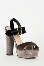 New Ladies High Block Heel Sandals Womens Ankle Strap Peep Toe Shoes Size UK 3-8