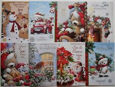 SON / SON & DAUGHTER IN LAW  FOILED EMBOSSED CHRISTMAS CARD LOTS OF DESIGNS
