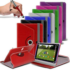 """360° Rotating Luxury PU Leather Spring Stand Case Cover✔Pen Swivel - 8"""" Tablets"""