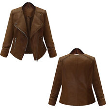 Ladies Women BRANDO Brown Fashion Biker Style Soft Leather Rock Jacket XL-5XL